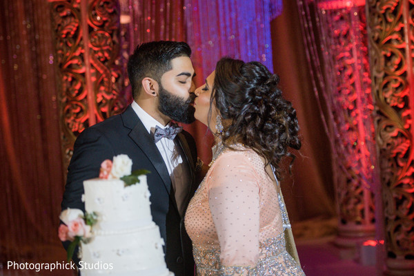 Sweet Indian bride and groom scene.
