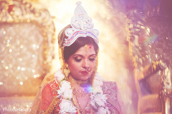 Indian bridal portrait while ceremony ritual.