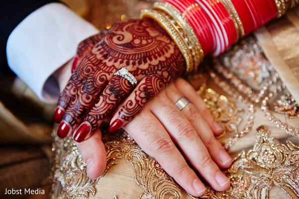 Indian bride and groom's hands close up