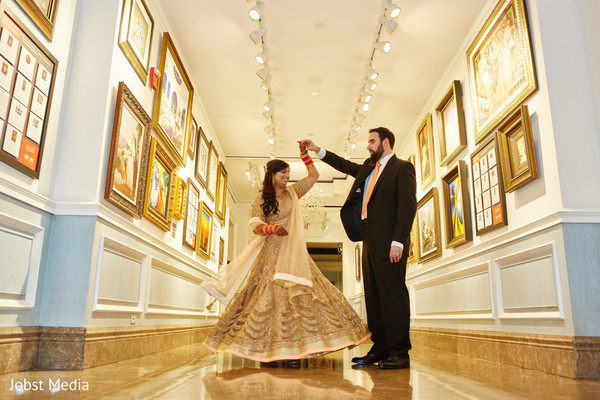 Ravishing indian bride and groom's wedding reception outfit