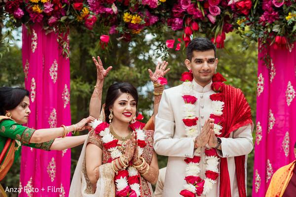 Dreamlike outdoor Indian wedding ceremony.