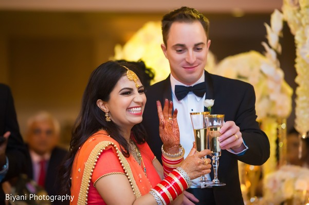 Indian newlyweds toast.