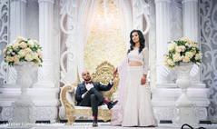 Elegant indian bride and groom's wedding reception fashion