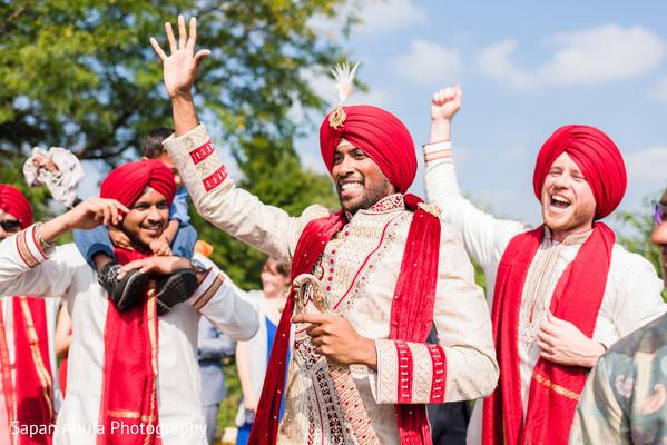 Elegant indian groom during baraat