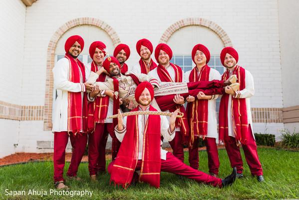Indian groom with groomsmen fun capture
