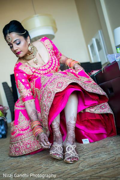 indian bride getting ready,indian wedding gallery,indian bride fashion,indian bride shoes