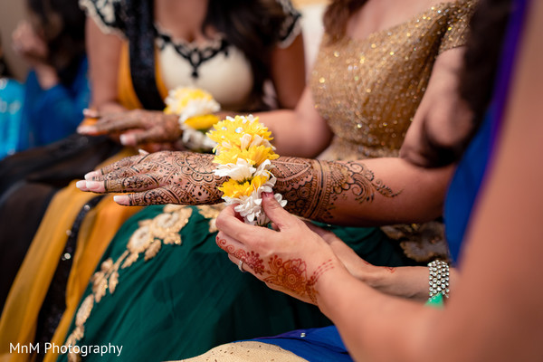 Indian bride during mehndi party