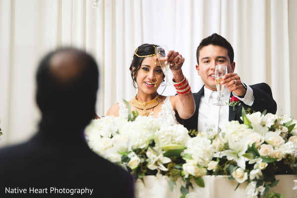 indian wedding reception,indian bride and groom,floral and decor