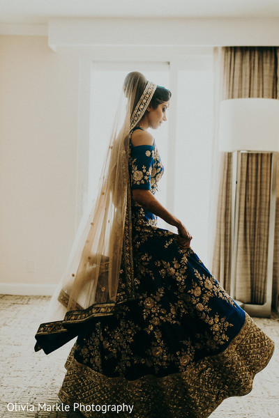 indian bride,lehenga,pre-wedding fashion,blue and gold lehenga