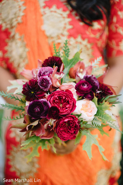 Maroon and deep plum bridal bouquet.