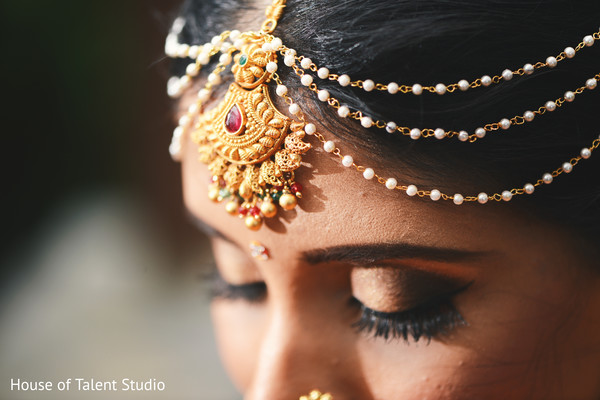 Ecstatic South Indian bride hair jewelry.