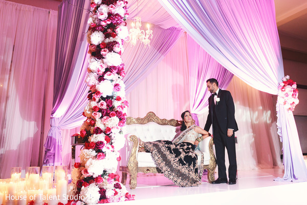 indian wedding reception,floral and decor,stage,indian bride and groom