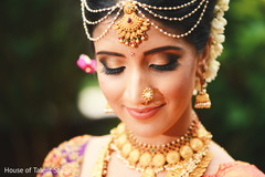 South Indian bride jewelry hair and makeup.