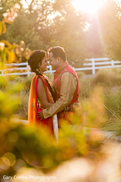 Portrait of Indian bride and groom to be.