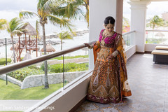 Dual color Indian bride lehenga.