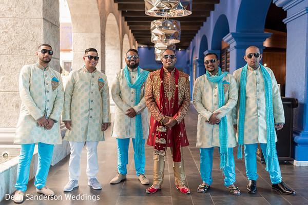 Stylish Indian groom and groomsmen.