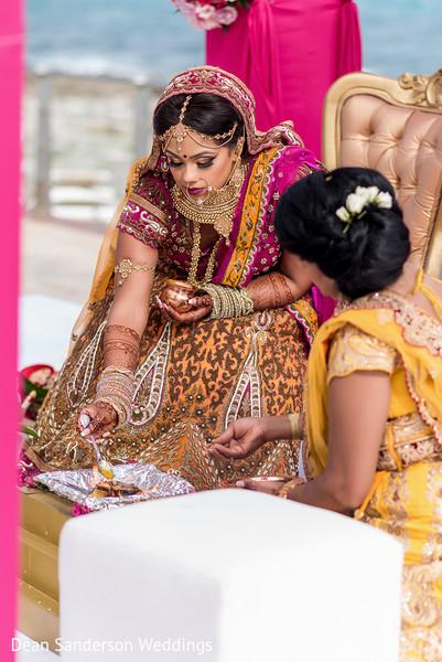 Indian bride's pre-wedding ritual.
