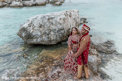 Lovely Indian bride and groom beach photography.