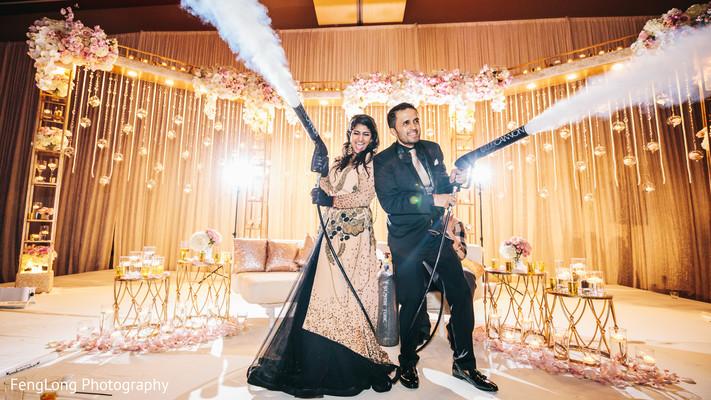 Indian couple enjoying wedding reception