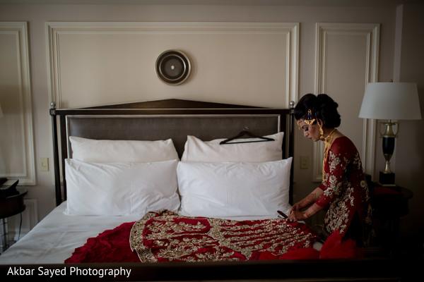 Indian bride getting ready scene