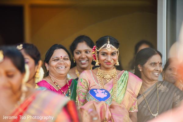 Lovely indian bride making her entrance