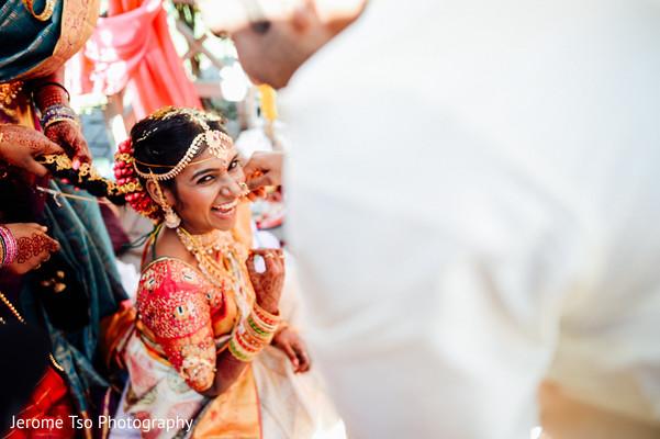 Indian bride's joyful moment