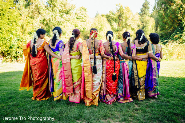Outdoor themed indian bride with bridesmaids photo session