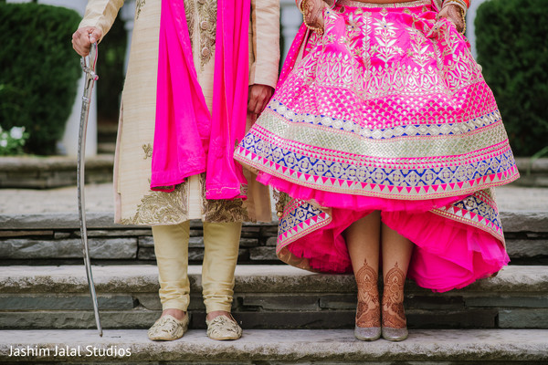 Indian bride and groom's shoes close up