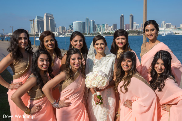 See this dazzling indian bride with bridesmaids photo session