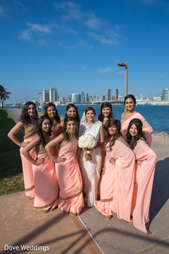 Graceful indian bride and bridesmaids photo session