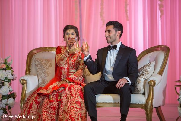Indian newlyweds toasting capture