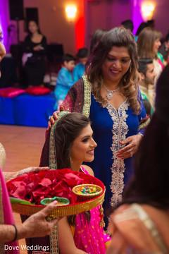 Beautiful indian bride's pre-wedding ritual