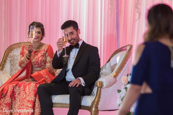 Indian lovebirds toasting scene