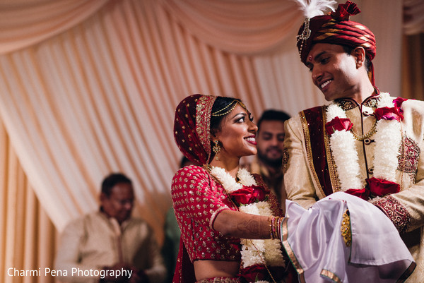 Gorgeous Indian Bride And Groom Looking At Each Other