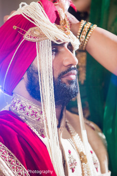 Charming indian groom at his wedding ceremony