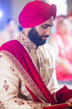 Elegant indian groom at his wedding ceremony