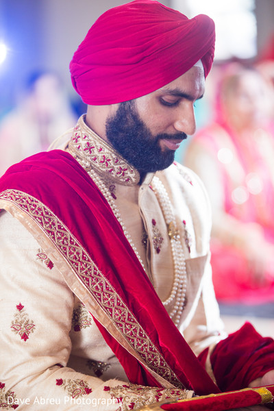 Elegant indian groom at his wedding ceremony