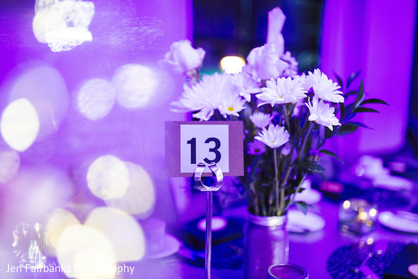 Graceful floral centerpiece and table number
