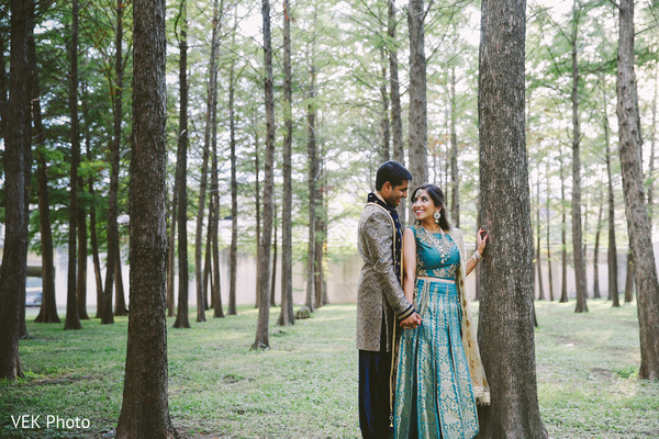 Indian bride and groom romantic first glance