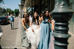Outdoor themed indian bride with bridesmaids phototography