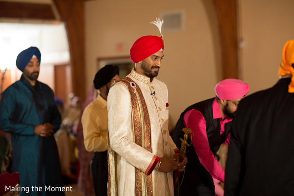 Indian groom's entrance to wedding ceremony