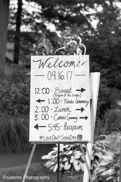 Indian wedding reception welcome sign