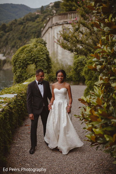 Adorable capture of Indian bride and groom. in Lake Como, Italy Indian Wedding by Ed Peers Photography