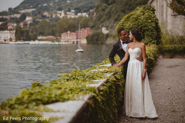 Indian bride and groom loving moment in Lake Como, Italy Indian Wedding by Ed Peers Photography