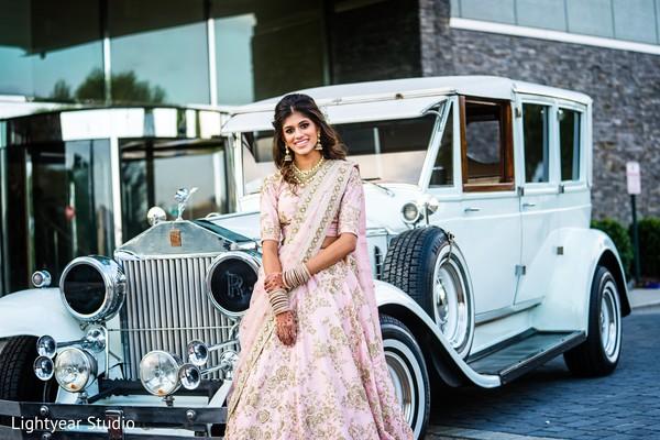 Stunning maharani in a baby pink bridal lengha