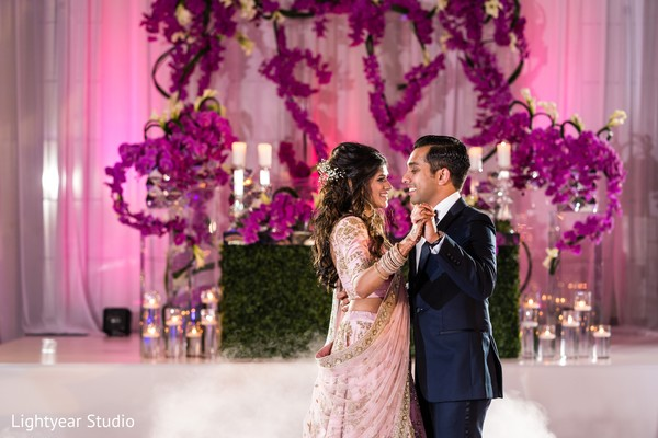 Sweet indian newlyweds at their first dance