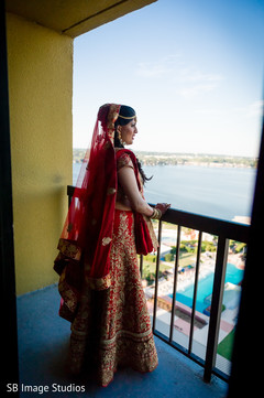 Charming indian bride looking out