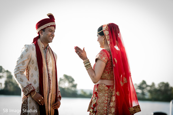 Sweet and lovely first look scene in Montgomery, Texas Indian Wedding by SB Image Studios