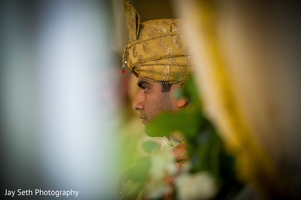 Indian groom waiting anxiously for the bride