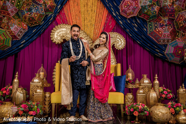 indian bride and groom,indian bride and goom fashion,indian sangeet decoration